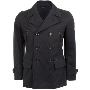 Tom Ford Leather Trim Cotton Pea Coat
