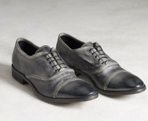 John Varvatos bound oxfords in distressed black leather.