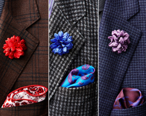 Edward Armah boutonnieres and pocket square combinations